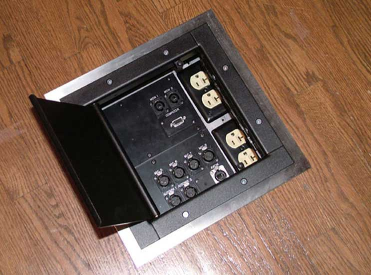 This pocket offers microphone inputs, personal monitor system connection, floor monitor jacks, a computer feed to the video system, and two duplex electrical outlets.