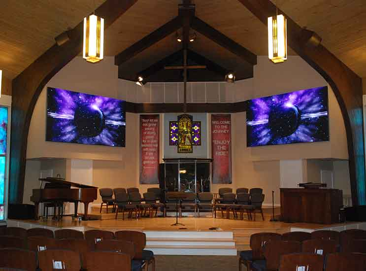 The new LED wall panels are brighter, more flexible, and will last longer than the original setup!