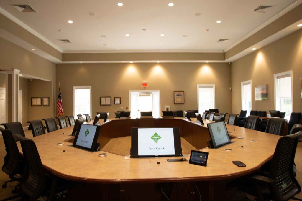 Boardroom with monitor lifts